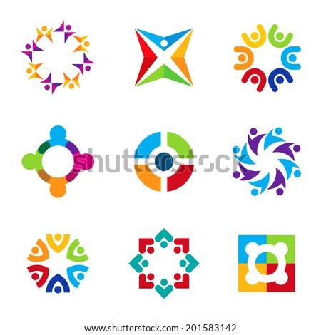 Partnership education circle spiral icon set focus on education logo  - stock vector