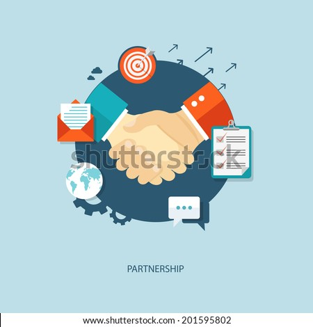 Partnership flat illustration with icons. eps10 - stock vector