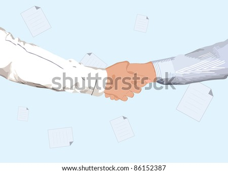 Partnership handshake for business or another concept design