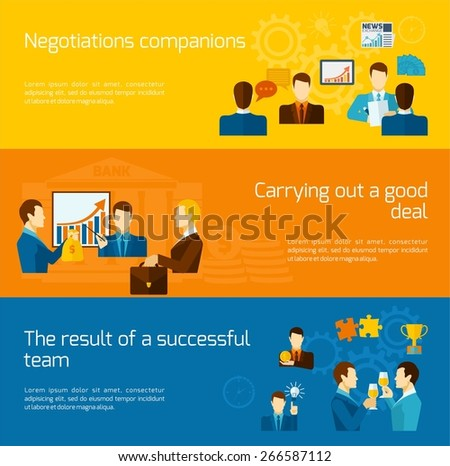 Partnership horizontal banners set with negotiations deal successful team elements isolated vector illustration - stock vector