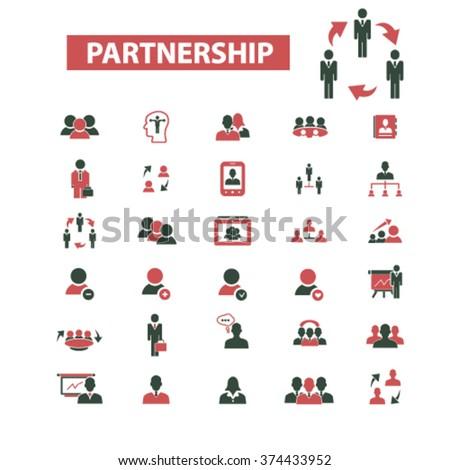 partnership icon, partnership business, partner, team, management, community, icons set  - stock vector