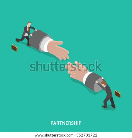Partnership isometric flat vector concept. Two businessmen are pushing big hand figures to each other to shake hands. Make a deal, teamwork. - stock vector