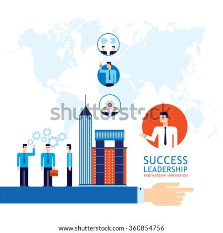 Partnership Leadership Teamwork successful business concept Businessman hand pointing  forward - stock vector