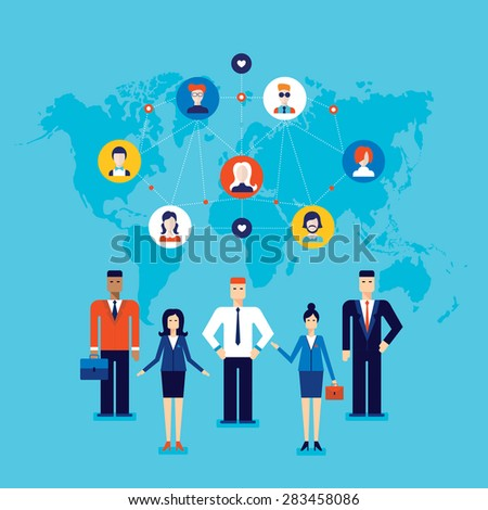 Partnership Teamwork Successful business team Social network and communication concept - stock vector