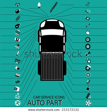 Parts of black and white icons point to various parts of the car on a green background. - stock vector