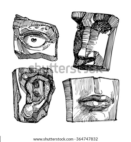 parts of David's face. Sketch of face, mouth, nose, eye, ear, lips. - stock vector
