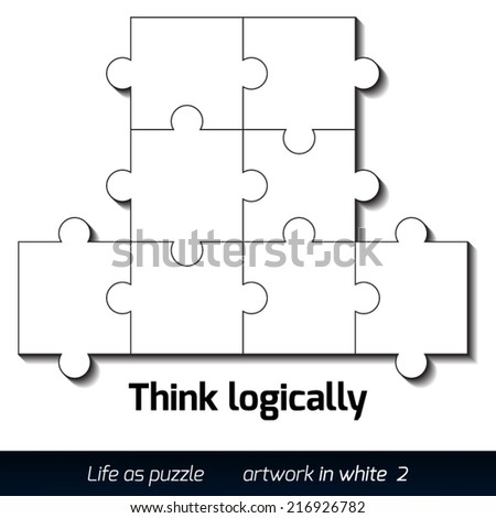 Parts of flat white paper puzzles with shadow. Business concept - stock vector