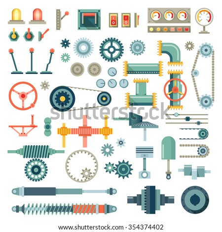 Parts of machinery flat icons set. Gear mechanical, equipment part, industry technical engine mechanic, vector illustration - stock vector