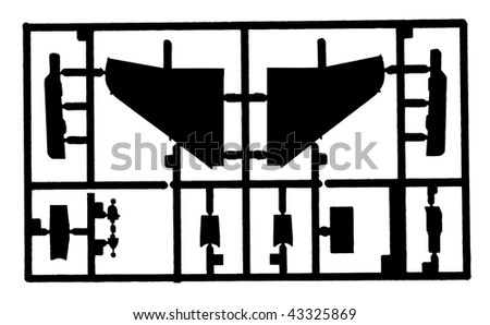 Parts of model airplane - stock vector