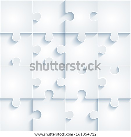 Parts of paper puzzles. Business concept, template interface, layout, infographics. - stock vector