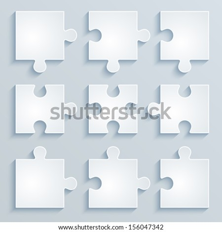 Parts of paper puzzles. Business concept, template, layout, infographics. - stock vector