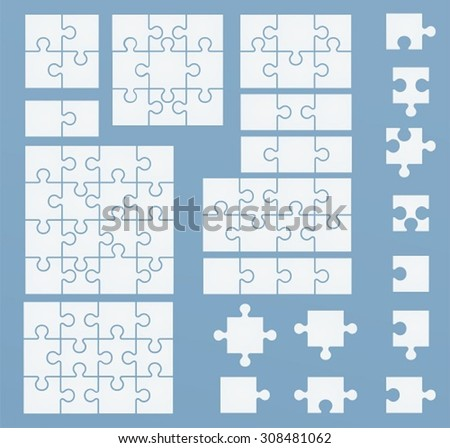 Parts of puzzles on blue template. Set of puzzle 2, 3, 4, 6, 8, 9, 12, 16 pieces - stock vector