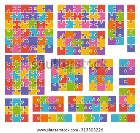 Parts of puzzles on white background in colored colors. Set of puzzle 2, 3, 4, 5, 6, 8, 9, 10, 12, 13, 16, 18, 25, 36 pieces - stock vector