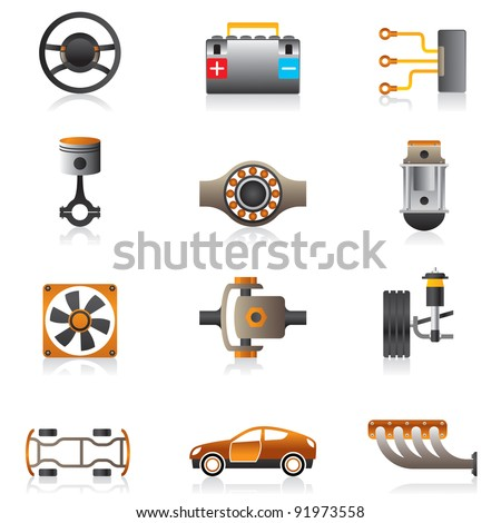 Parts of the car engine - vector illustration - stock vector