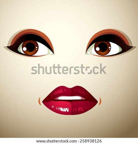Parts of the face of a young beautiful lady with a bright make-up, lips and eyes. People facial expression, surprised and shocked woman.  - stock vector