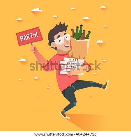 """Party after hard work or study. Happy hipster boy running with package of beer bottles and pizza, hand with """"Party"""" sign. Colorful vector illustration in flat style - stock vector"""