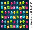 Party Alphabet with Balloons - stock photo