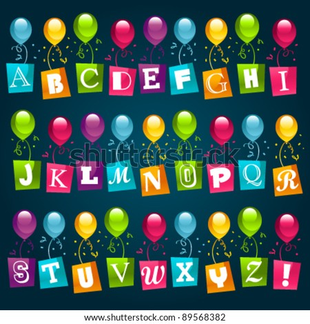 Party Alphabet with Balloons - stock vector