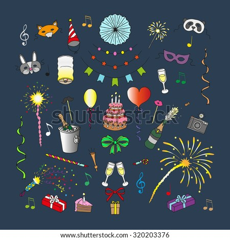 Party and celebration elements. Doodle set. Isolated