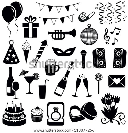 Party and Celebration icon collection - vector silhouette illustration - stock vector