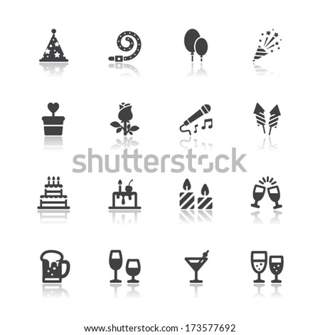 Party and Celebration Icons with White Background - stock vector