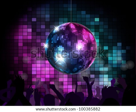 Party Atmosphere with disco globe - stock vector