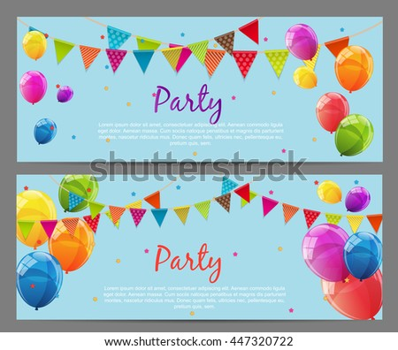 Party Background Baner with Flags and Balloons Vector Illustration. EPS10