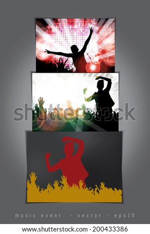 Party Background. Editable vector with happy dancing people. - stock vector