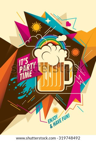 Party background with mug of beer. Vector illustration. - stock vector