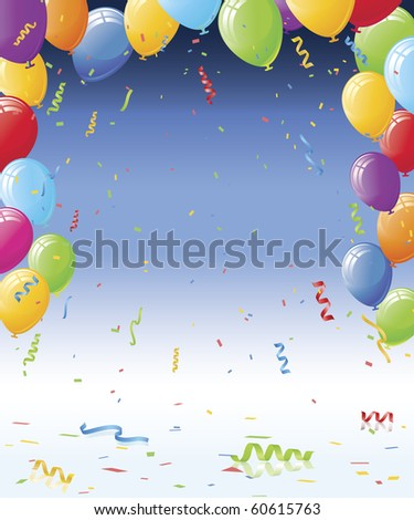 Party balloons and confetti ribbons on dark blue gradient background. Reflective floor with confetti and ribbon curls - stock vector