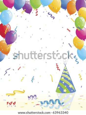 Party balloons and hat on reflective surface - stock vector