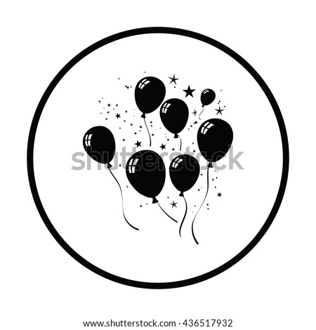 Party balloons and stars icon. Thin circle design. Vector illustration. - stock vector