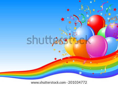Party balloons background with rainbow ribbon