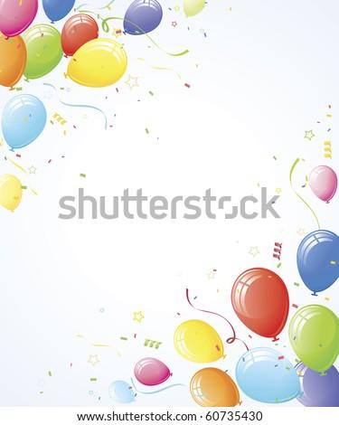 Party balloons corner design element layout - stock vector