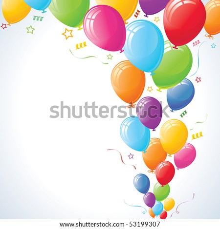 Party Balloons with stars and ribbons against vignette vector background. - stock vector