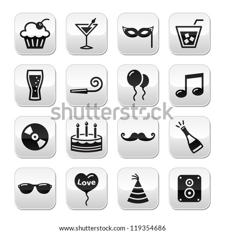 Party, birthday, New Year's, Christmas buttons set - stock vector