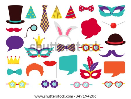 Party Birthday photo booth props. Hat and mask, costume and cylinder, bunny ears nose moustache. Vector illustration collection - stock vector