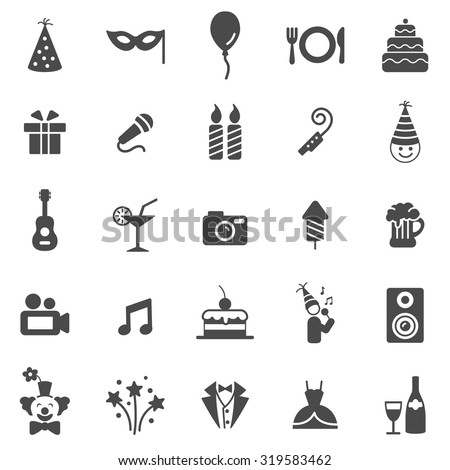 Party black icons set.Vector - stock vector