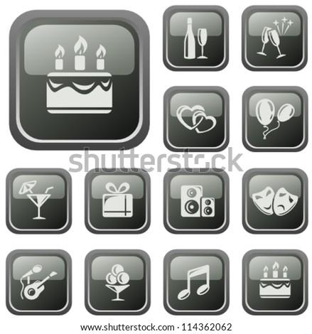 Party button set - stock vector