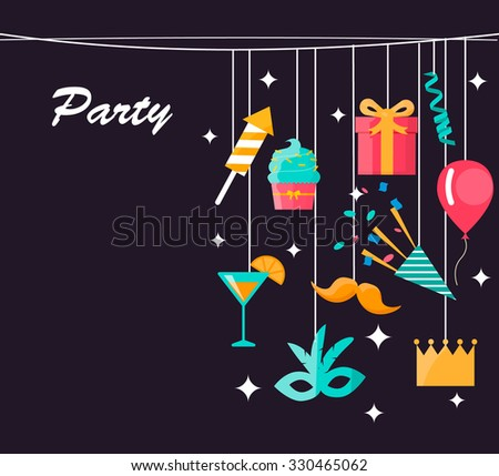 Party, celebration and carnival greeting card decorated with colorful icons hanging on dark background, vector illustration - stock vector