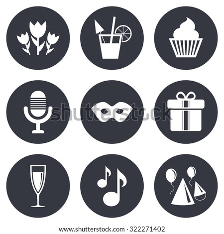 Party celebration, birthday icons. Cocktail, air balloon and champagne glass signs. Gift box, flowers and carnival symbols. Gray flat circle buttons. Vector - stock vector