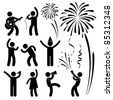 Party Celebration Event Festival People Nightlife Joyful Karaoke Singing Dancing Firework Icon Sign Symbol Pictogram - stock photo
