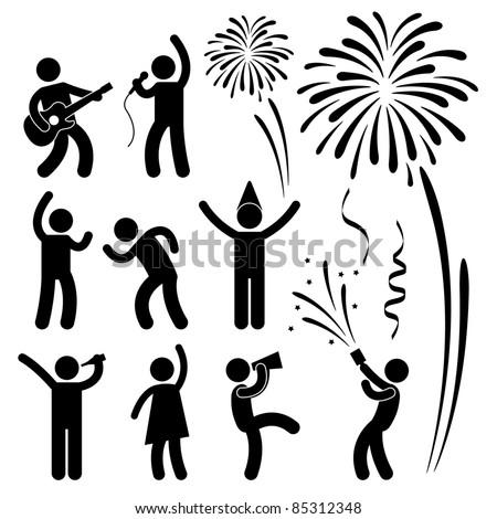 Party Celebration Event Festival People Nightlife Joyful Karaoke Singing Dancing Firework Icon Sign Symbol Pictogram - stock vector