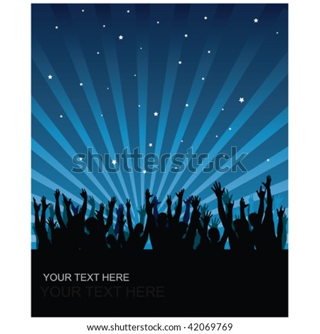 Party cheering audience vector background - stock vector