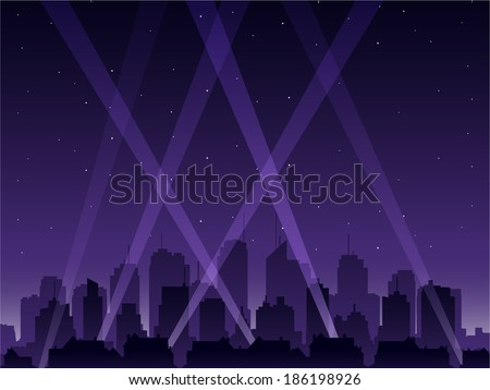 Party city at night - stock vector