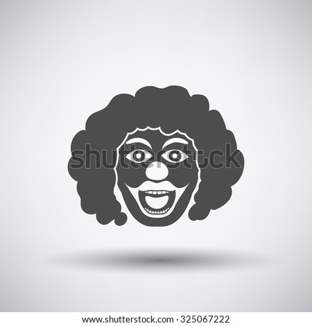 Party clown face icon on gray background with round shadow. Vector illustration. - stock vector