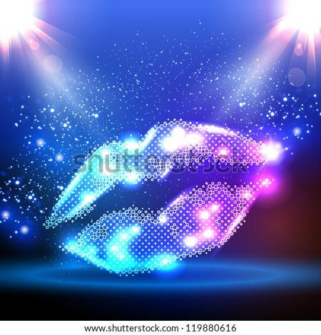 Party color illustration with lips - stock vector