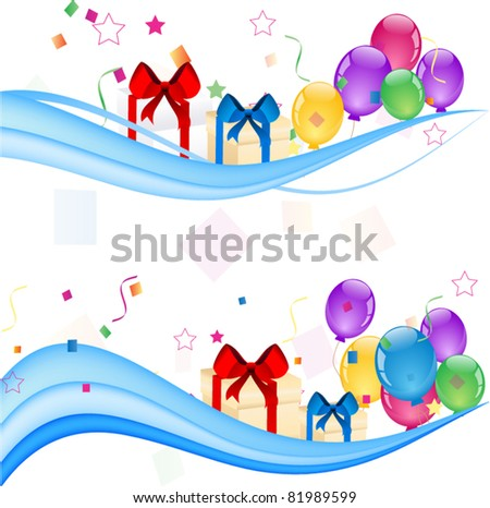 Party colorful balloons with gift boxes