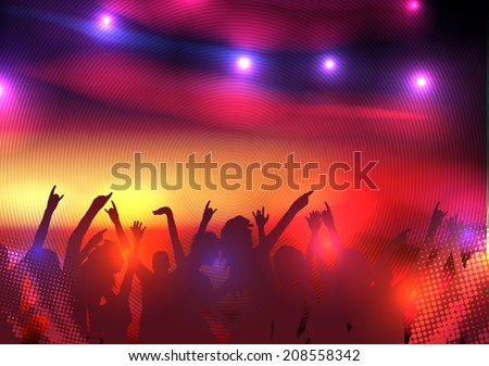 Party Crowd with Disco Spot Lights Background Template - Vector Illustration - stock vector