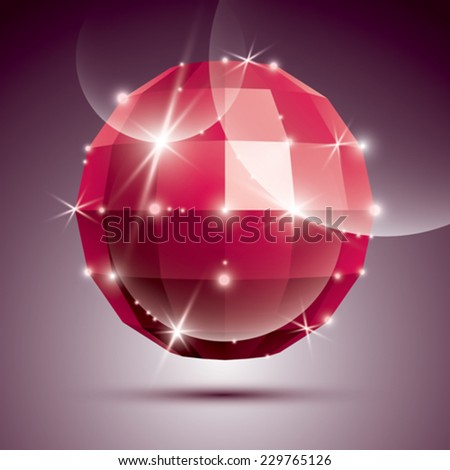 Party 3D red twinkle disco ball created from geometric figures. Vector festive illustration - eps10 glossy ruby stone.  - stock vector